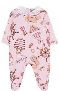Хлопковая пижама с принтом и кружевным воротником Monnalisa