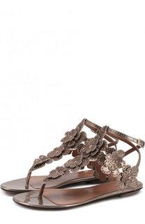 Сандалии из металлизированной кожи с заклепками Alaia