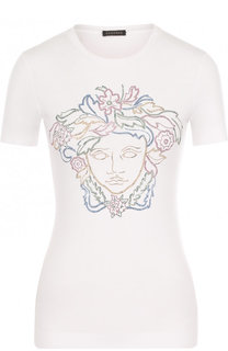 Приталенная однотонная футболка со стразами Versace