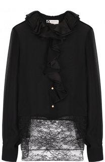 Шелковая блуза с кружевной вставкой и оборками Lanvin