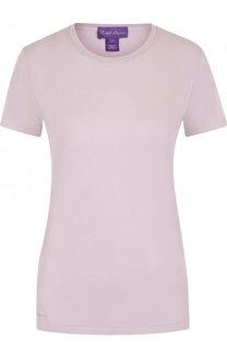 Однотонная хлопковая футболка прямого кроя Ralph Lauren