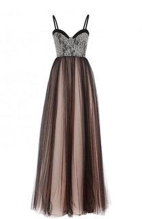 Платье-макси с кружевным лифом Lanvin