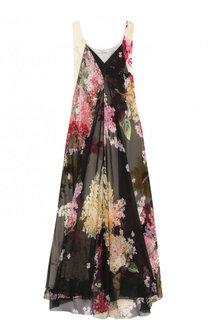Шелковое платье свободного кроя с цветочным принтом Lanvin