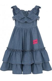 Хлопковое платье с оборками и бантами Dolce & Gabbana