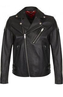 Кожаная куртка с косой молнией Diesel