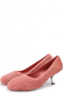 Туфли с отделкой мехом на фигурном каблуке Marni
