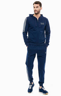 Синий спортивный костюм из хлопка EA7