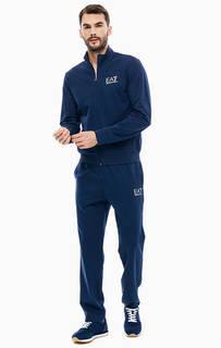 Спортивный костюм из хлопка синего цвета EA7