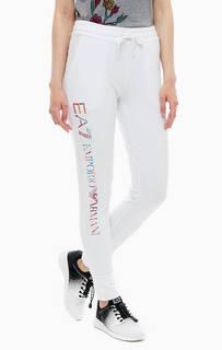 Хлопковые брюки с логотипом бренда EA7