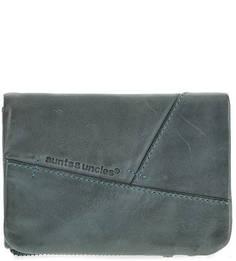 Синий кожаный кошелек с одним отделом для купюр Aunts & Uncles