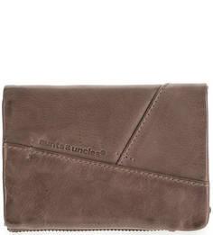 Коричневый кожаный кошелек с одним отделом для купюр Aunts & Uncles