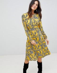 Платье миди с цветочным принтом AX Paris - Желтый