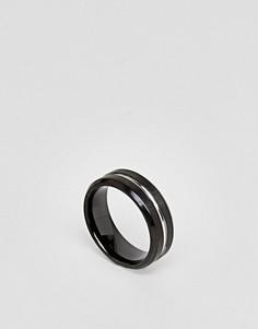 Серебристо-черное кольцо Seven London - Черный