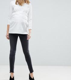 Узкие джинсы с необработанным низом Mamalicious - Черный Mama.Licious