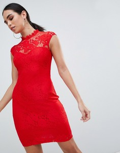 Кружевное платье-футляр Lipsy - Красный