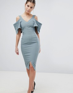 Платье-футляр с вырезами на плечах и пышными рукавами Vesper - Зеленый