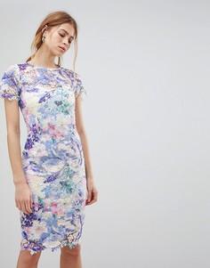 Платье кроше с принтом Paper Dolls - Мульти