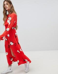 Платье макси с цветочным узором, присборенной талией и разрезом Nobodys Child - Красный