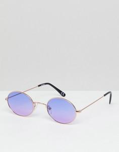 Круглые солнцезащитные очки в золотистой оправе с фиолетовыми стеклами ASOS - Золотой