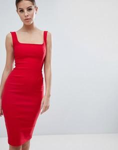 Красное платье-футляр с квадратным вырезом Vesper - Красный
