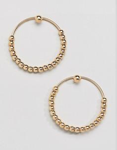 Золотистые серьги-кольца с бусинами DesignB London - Золотой