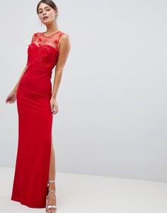 Платье макси с цветочной вышивкой City Goddess - Красный