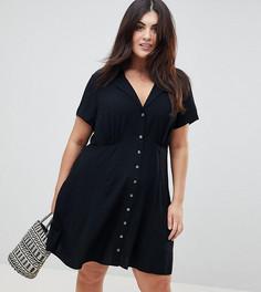 Короткое приталенное платье с пуговицами ASOS DESIGN Curve - Черный