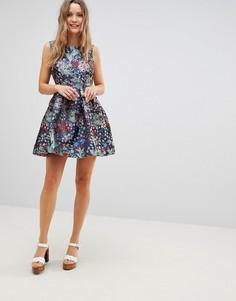 Жаккардовое платье с цветочным узором Lavand - Мульти