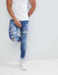 Черные обтягивающие джинсы со рваными коленками и молниями Jaded London - Черный