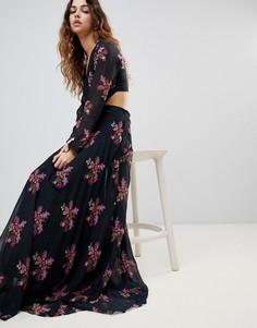Платье макси с цветочным принтом и вырезом Zibi Maxi - Мульти