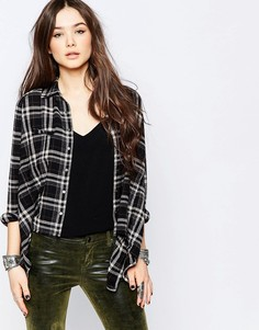 Клетчатая фланелевая рубашка с асимметричным краем Blank NYC - Серый