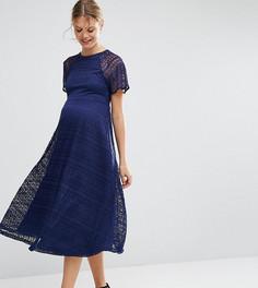 Кружевное платье миди для беременных с рукавами-бабочка ASOS Maternity - Синий