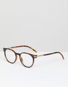 Очки в круглой черепаховой оправе с прозрачными стеклами Marc Jacobs - Коричневый