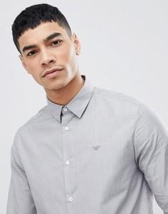 Серая узкая фактурная рубашка Emporio Armani - Серый