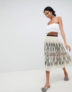 Плиссированная юбка с принтом икат b.Young - Мульти