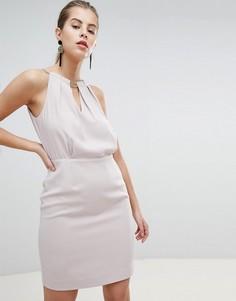Платье-футляр с высоким воротом и отделкой Morgan - Фиолетовый