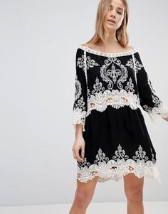 Пляжное платье из кружева кроше Liquorish - Черный