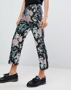 Прямые укороченные жаккардовые брюки с цветочным рисунком ASOS EDITION - Черный