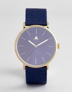 Часы с коричневым/темно-синим ремешком из искусственной кожи/парусины ASOS - Коричневый
