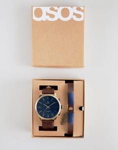 Часы и браслет с ацтекским узором и пером ASOS DESIGN - Рыжий