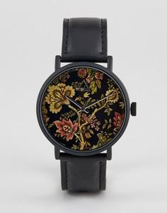 Черные часы с цветочным рисунком ASOS DESIGN - Черный