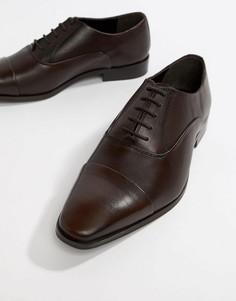 Коричневые кожаные туфли дерби со вставкой на носке Dune - Коричневый