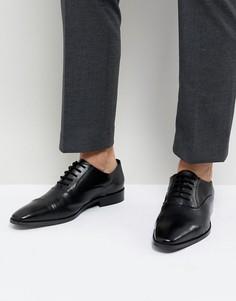 Черные кожаные дерби со вставкой на носке Dune - Черный