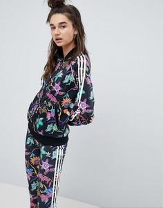 Спортивная куртка с цветочным принтом adidas Originals - Черный