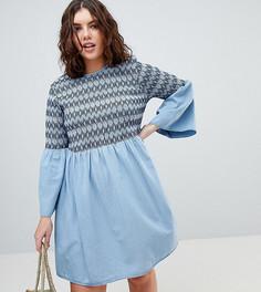 Джинсовое свободное платье с вышивкой ASOS DESIGN Curve - Синий