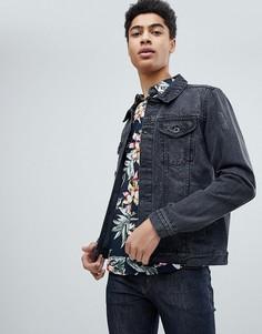 Рваная джинсовая куртка Threadbare Vintage - Черный