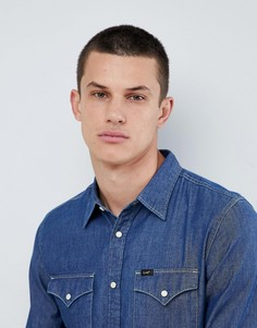 Джинсовая рубашка цвета индиго на пуговицах Lee Jeans - Синий
