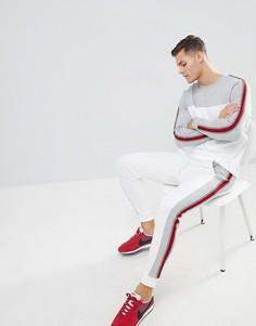 Спортивный костюм (свитшот/джоггеры скинни) колор блок с полосками по бокам ASOS DESIGN - Серый
