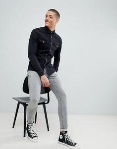Черная джинсовая рубашка зауженного кроя в стиле вестерн ASOS DESIGN - Черный