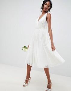 Платье миди с пайетками ASOS EDITION wedding - Белый